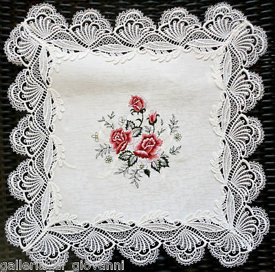 """LAVISH LACE Country Rose Lace  Doily Table Topper 17"""""""