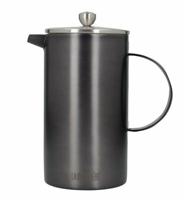 La Cafetiere 8-Cup CAFETIERE Coffee Maker GUN METAL Charcoal Double Walled 1L