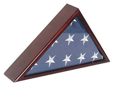 Flag Display Case Stand for Veteran Burial Flag 5 X 9- Mahogany Finish