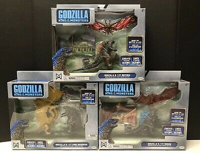 JAKKS Godzilla King of the Monsters Battle Packs Mothra Roden Ghidorah LOT OF 3