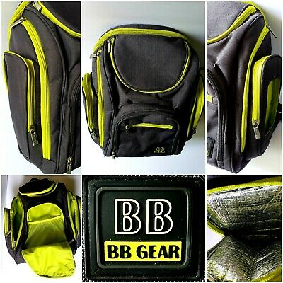 BB Gear Insulated Backpack Multi Zip Pockets Gray Yellow Diaper Bag