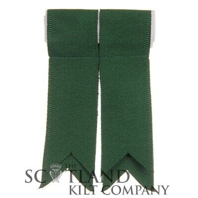 New Mens Plain Green 100% Acrylic Wool Kilt Hose Flashes with Garters