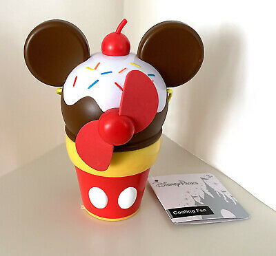 Disney Parks Mickey Mouse Ice Cream Sundae  Battery Operated Snack Fan NEW