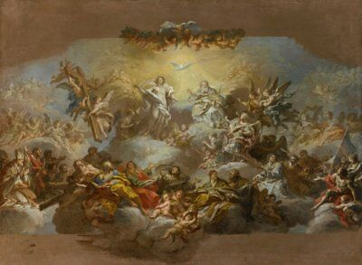 "oil painting handpainted on canvas""The Holy Trinity and Saints in Glory"" NO6156"