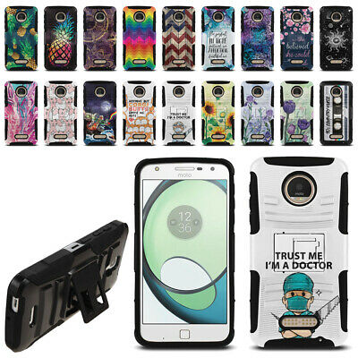For Motorola Moto Z Play Droid XT1635 Hybrid Heavy-Duty Stand Phone Case Cover