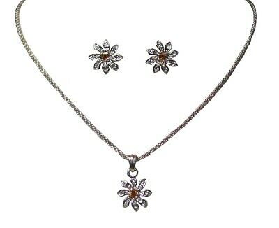 Silver Crystal Diamante Flower Necklace Earrings Jewellery Set Girls Dress Jewel