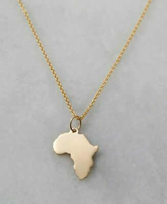 Women Smooth Gold/Silver Africa Map Pendant Necklace With Twist Chain Jewelry