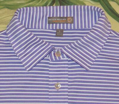 8a27aa02 Mens PETER MILLAR Purple White Summer Comfort Pocket Golf Polo Shirt Large L