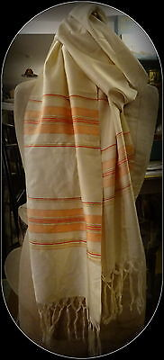 Superb Vintage Hand woven Middle Eastern Silk Scarf Stole Very Long