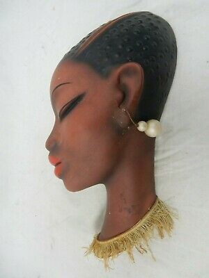 "Rare 50´s design CORTENDORF Keramik wall mask"" African Beauty ""  3679    small"