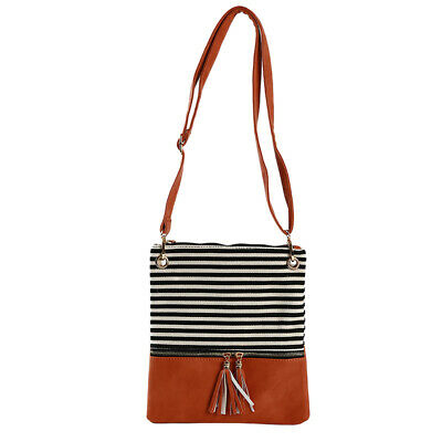 Causal Women Striped Handbag Patchwork Shoulder Messenger Bag Tassel LA