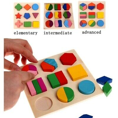 Educational Puzzle Sets For Baby Kids Early Learning Wooden Geometry Wood Toys