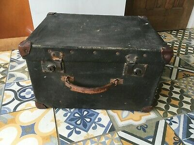 Vintage Antique Edwardian Grand Louvre Birmingham Black Hatbox 1900's Storage