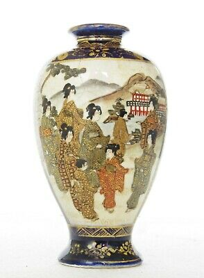 Small Antique Satsuma Vase, Painted Figures In Landscapes, Signed, Cobalt Ground