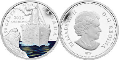 """2012 Rcm """"Rms Titanic"""" Silver Plated 50 Cent Coin"""