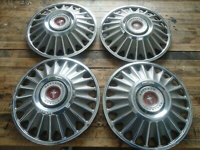 Vintage Ford Mustang Hub Caps-Set Of Four-Metal-Cars-Classic
