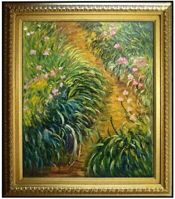 Framed, Claude Monet Irises Repro, Quality Hand Painted Oil Painting 20x24in