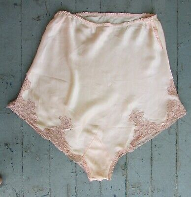 Vtg Lace SILK Gatsby Double Gusset High Waist PettiPants Knickers Tap Panties L