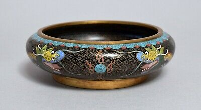 Fine Quality Antique Chinese Cloisonne Dragon Bowl Censer, Character Mark
