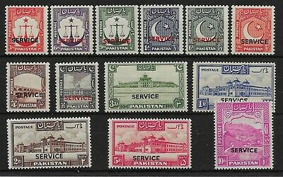 Pakistan Sgo14/26 1948-54 Official Set Mtd Mint