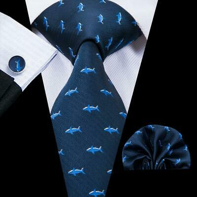 USA Blue Fish Classic Mens Tie Necktie Silk Woven Set Wedding Formal Dress