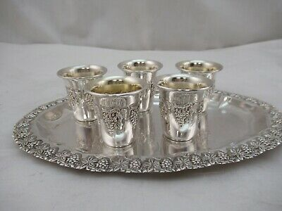 Sterling Silver Liquor Cups 5 With Tray Plate Pre-owned