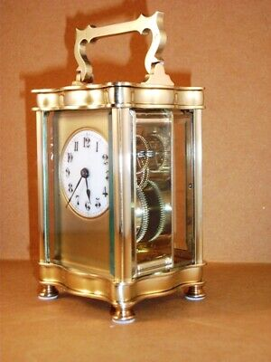 """Genuine antique brass and 5-glass """"Louis XV Doucine"""" cased carriage clock & KEY."""