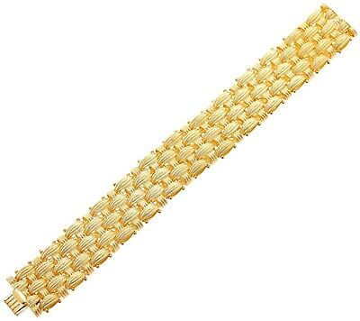 """Italian Silver Yellow Sterling 6-3/4"""" Textured Woven Bracelet 53.4G Qvc $338"""
