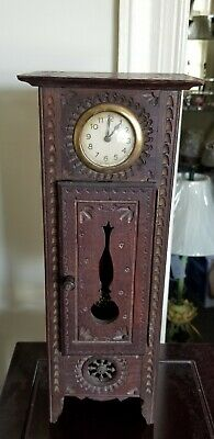 Antique French doll Miniature Breton Brittany Grandfather Desk Clock in Chestnut