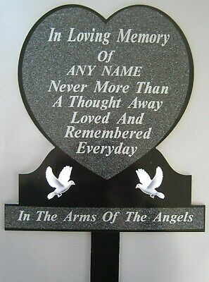 Memorial Plaque Black Silver Grave Personalised Temporary Marker Headstone Heart