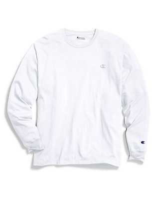 Brand New Men's Champion Classic Long Sleeve White Cotton Jersey T-Shirt 2XL
