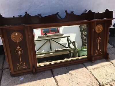 Vintage Arts & Crafts Marquetry Large Mantel Mirror Shelf Mother of Pearl Inlay