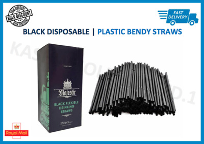 "250 x Black Flexible Bendy Plastic Straws Party Drinking Cocktail - 8"" Bulk"