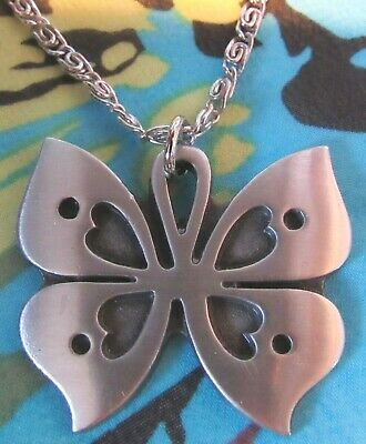 Vintage Tennesmed Sweden Pewter Butterfly Pendant Chain Necklace