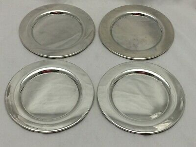"""Lot Of 4 Oneida Silversmiths Silver Plate Silverplated 6"""" Wide Plate/Saucers"""