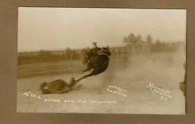 "RPPC Pendleton,OR Oregon, Round UP ""Monroe didn't ride Mrs Wiggins"" No. 22-A"