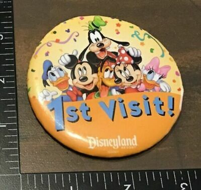 Disneyland 1ST VISIT! Disney Parks Button Pin Back NEW Mickey Goofy