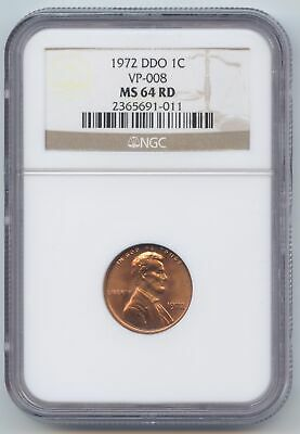 1972 Double Die Lincoln Memorial Cent, VP-008, NGC MS-64 RD, Red