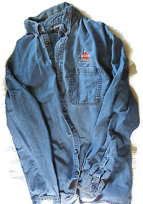 Mens Distressed Swingster Blue Denim Button Long Sleeve Shirt XL Kuhn Knight