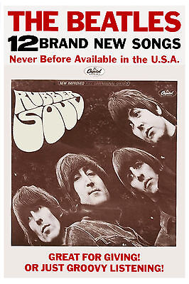 Rock: The Beatles Rubber Soul Promotional Poster 1965 WINDOW Card 13 x 19