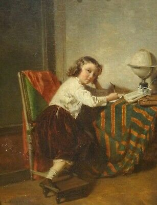 19th Century French Boy Student Portrait Antique Oil Painting Isidore PATROIS
