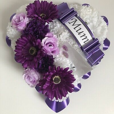 Artificial Silk Funeral Flower Heart Memorial Wreath Tribute Mum Nan Purple