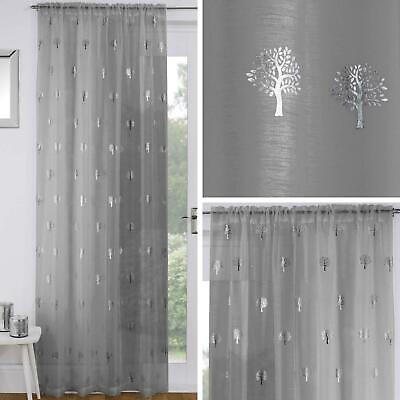 Grey Voile Curtain Panels Silver Metallic Trees Birch Slot Top Rod Pocket Voiles
