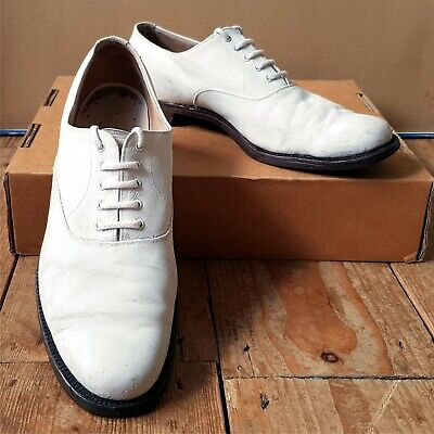 Genuine vintage 1940's white Naval dress shoes Swing Jazz Lindy size 9½ leather