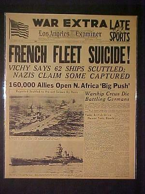 Vintage Newspaper Headline~World War Germany Nazi Ships Battle French Fleet Wwii