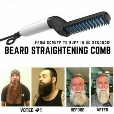 Men Quick Beard Straightener Comb Multifunctional Hair Curling Curler Cap Tool