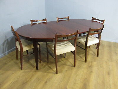 Stunning Mid Century 60'S Danish Rosewood Two Leaf Dining Table & 6 Chairs