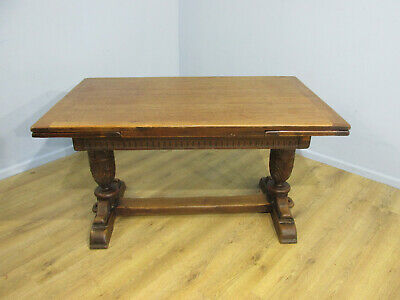 Vintage Old Charm Tudor Style Oak Refectory Drawer Leaf Extending Dining Table