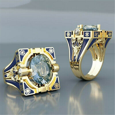 Women Vintage 18K Gold Plated White Topaz Blue Ring Wedding Jewellery Size 6-10