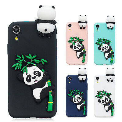 3D Case Soft Silicone Cute Cartoon Panda Phone Shell Skin For iPhone Xs Max 7 8